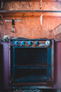 old oven, rust and grime