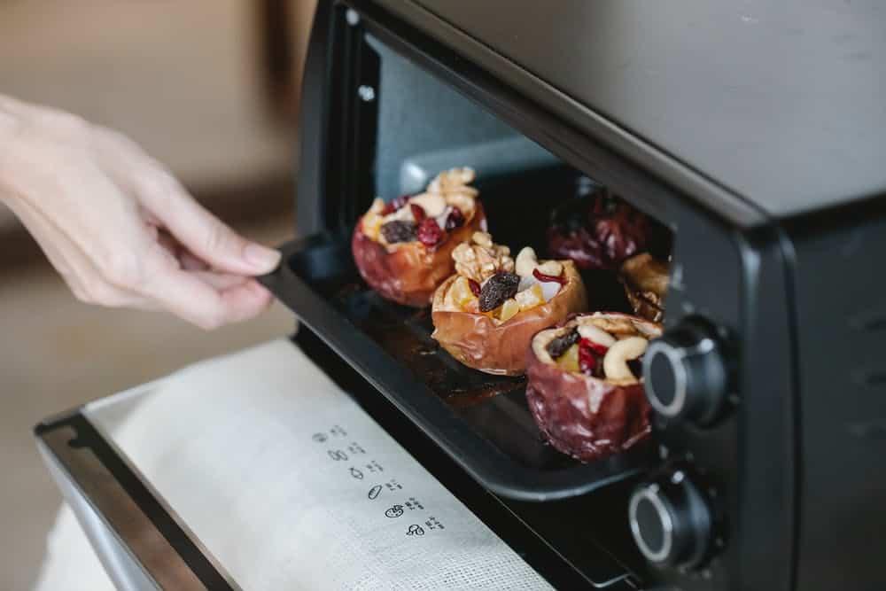 baking in the oven, oven door open