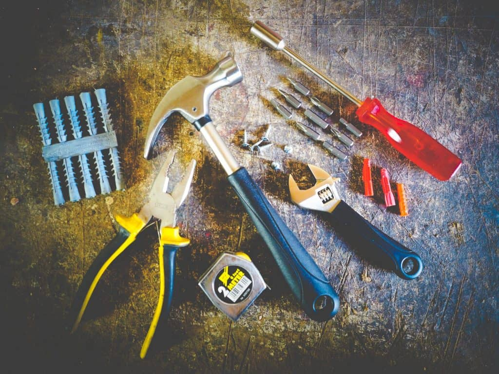 tools for plumbing, pliers, wrench, screw drivers