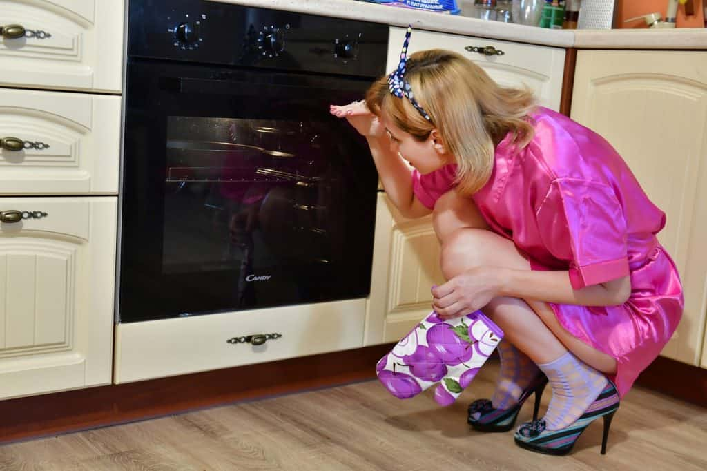 lady looking or checking the oven if its heating up or the bulb is working