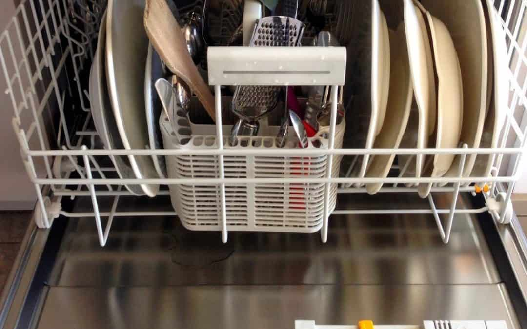 dishwasher full of dishes, spoon and fork, dishwasher that needs to be drain